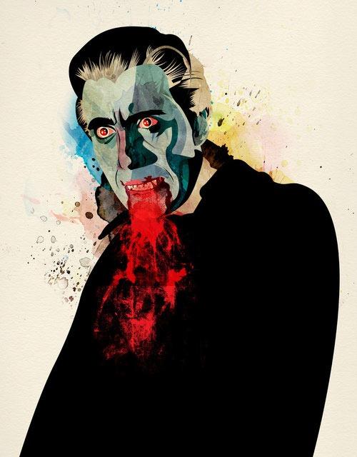 Christopher Lee as Dracula, an Illustration by Alvaro Tapia Hidalgo