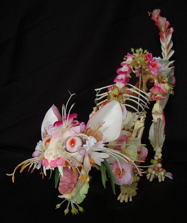 Cat-Flower-Skeleton-Sculptures