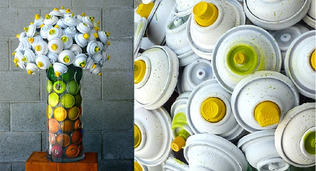 Bouquet-made-with-discarded-spray-cans