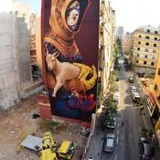 Huge Street Art Mural in Beirut by INTI