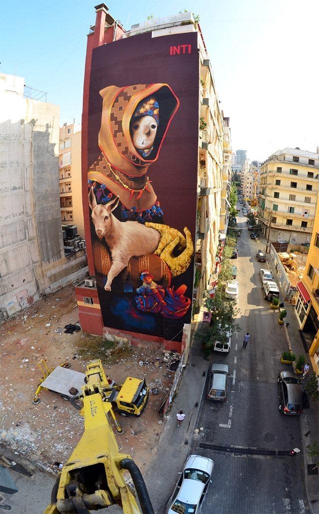 Huge street art mural in beirut by inti for Mural street art