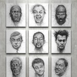 Doodle Art Portraits of Famous Movie Actors by Vince Low