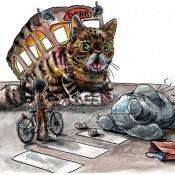 Meow! Parody Prints of Grumpy Cat and Lil Bub as Catbus