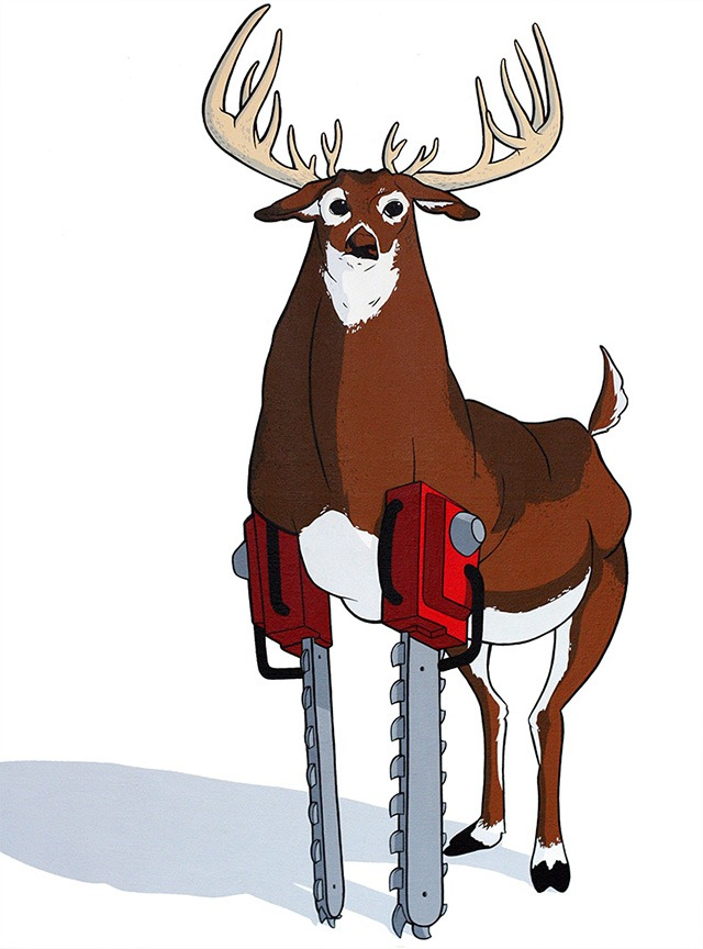 Eric_pause_chainsaw_animals_white_tailed_deer