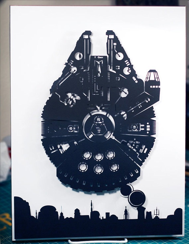 Millennium-Falcon-Over-Mos-Eisley-3D-Paper-Craft-by-Will-Pigg-01