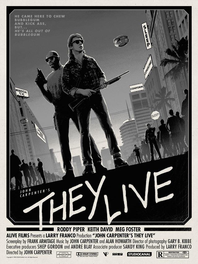 They Live Black and White Art Print by Matt Ferguson