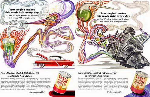 Vintage Trippy Ad for Shell Motor Oil