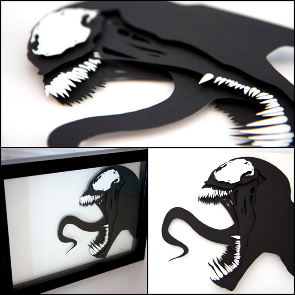 Venom-Marvel-Comics---3D-hand-cut-paper-craft-by-Will-Pigg
