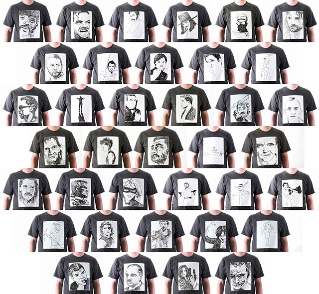 38 Cinematic Badasses Drawn on a Whiteboard T-Shirt
