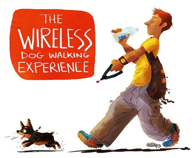 The-Wireless-Dog-Walking-Experience---An-Illustration-by-Hatem-Aly