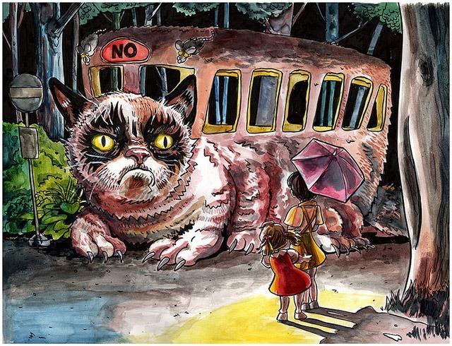 Tim-Doyle-Grumpy-Cat-vs-Catbus-Mashup-Art-Print