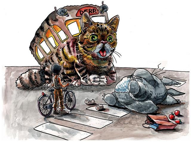 Tim-Doyle-Lil-Bub-vs-Catbus-Mashup-Art-Print