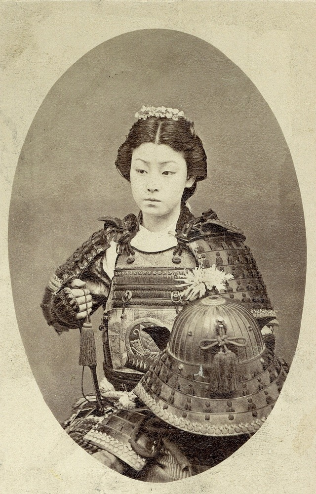 A Rare Vintage Photograph of a Japanese Female Warrior