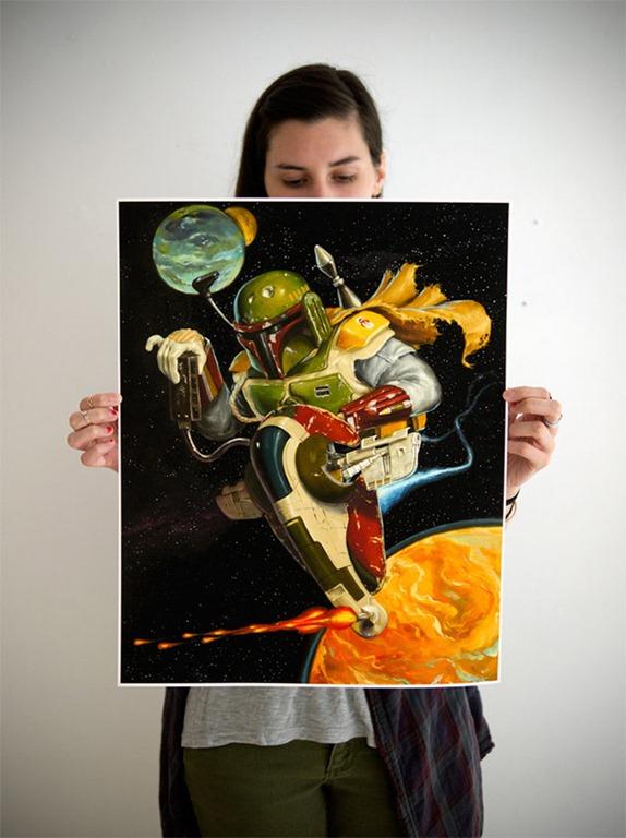 Boba Fett Themed Art Prints by Jonathan Bergeron