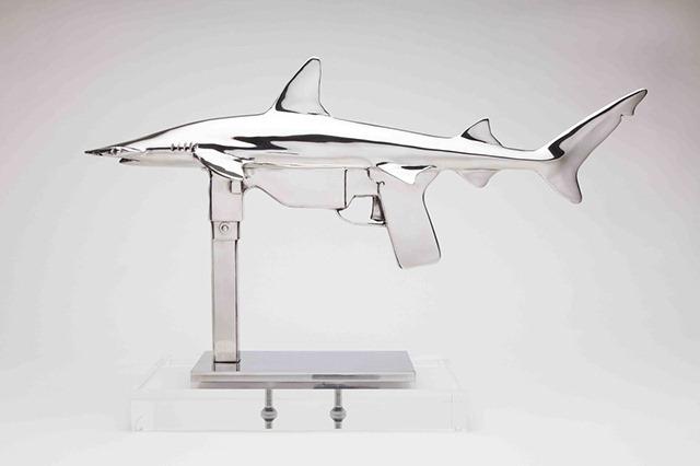 Shark-Gun-stainless-steel-sculptures-by-Chris-Schulz-Grease-Gun