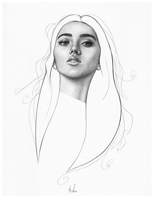 Amazing pencil drawings of beautiful women by t s abe