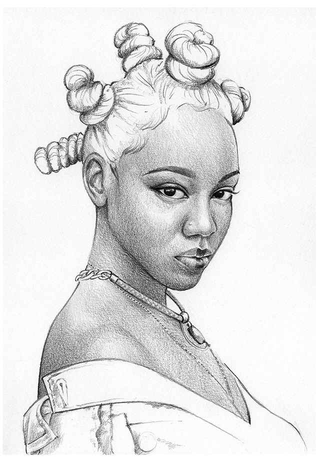 Pencil drawings of beautiful woman by uk based