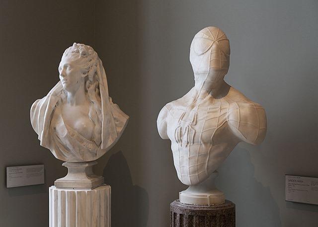 Superheroes-Classical-Sculptures-Leo-Caillard-Spiderman