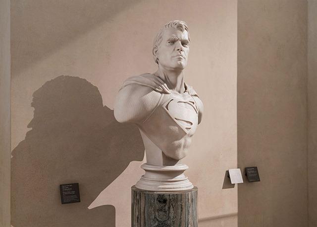 Superheroes-Classical-Sculptures-Leo-Caillard-Superman