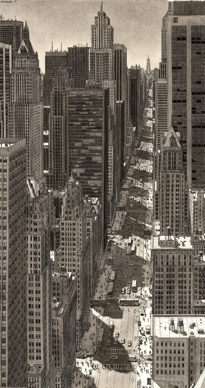 Stefan Bleekrode Cityscapes from Memory NYC-summer-shadows