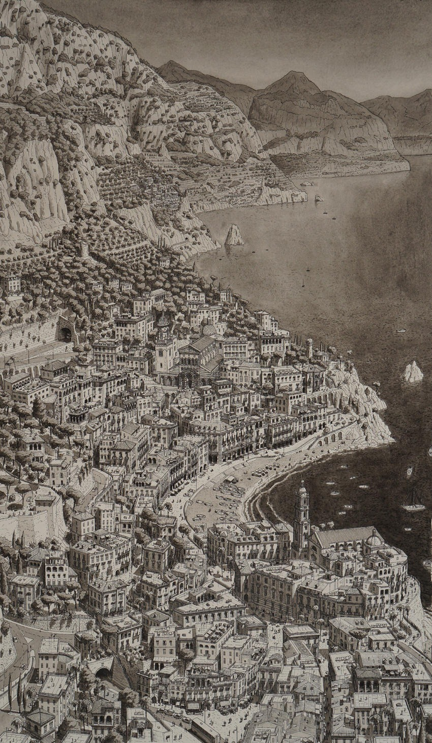Stefan Bleekrode Cityscapes from Memory town-on-amalfi-coast